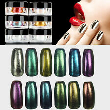 6 Farben Set 1g Nagel Pigment Puder Pulver Mirror Powder Nail Art Chrome Glitter
