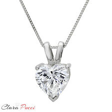 "0.50Ct Heart Cut 14K WHITE GOLD SOLITAIRE PENDANT NECKLACE + 16"" CHAIN"