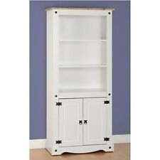Corona 2 Door Rustic Display Unit/Bookcase in White/Distressed Waxed Pine