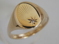9ct 9Carat YELLOW GOLD DIAMOND PATTERN SIGNET RING, SIZE P 1/2, 4.3 Grams