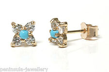 9ct Gold Turquoise Studs earrings Gift Boxed Made in UK