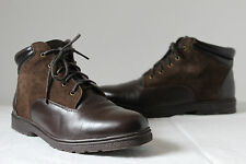 Vintage 90s brown leather/suede ankle walking boots flat work grunge UK 4 37