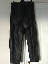 BNWT TOPSHOP BOUTIQUE Black Carrot Fit Leather Trousers Size 16