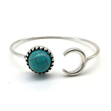 1 x Fashion Silver & Turquoise Stone Bangle Lucky Moon Bracelet Cuff Wristband