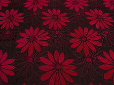 Rufus Red & Black Floral Chenille Designer Upholstery Fabric