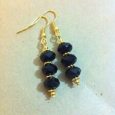 Glass Facetted Black Earrings Gold Plated Handmade Dangly Drop