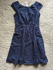 Emily & Fin Womens Rachel Dress Blue With Pastel Polka Dot Print Size L/14 BNWT