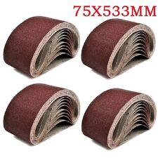 20x Sanding Belts 75 X 533 mm Mixed Grade 40 60 80 120 Grit Bosch Makita Sander