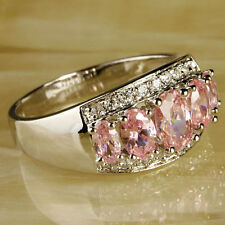 Women's Fashion Jewelry Oval Cut Pink & White Topaz Gemstone Silver Ring Size 10