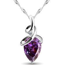 925 Sterling Silber Wasser Tropfen Anhänger + Halskette Herz Kette Strass Lila