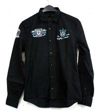 NEU schickes Herren Hemd in schwarz mit Aufnähern und Stickerei Gr. XS