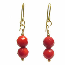 9ct Gold Earrings with Genuine Faceted Red Coral Gemstone Beads