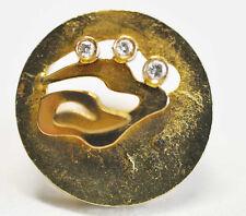 Großer Diamant Ring Design Handarbeit 750er Gelbgold 0,1 ct. W/VS Gr. 52
