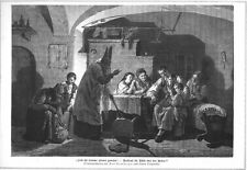 Sankt Nikolaus und Knecht Ruprecht, Original-Holzstich von 1880