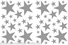 52 SATIN SILVER STARS VINYL BEDROOM WALL DECALS STICKERS TEEN GIRLS DORM ROOM
