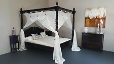 Balinese Classic Four Poster Bed Hand Carved Turned Posts Teak Walnut Queen