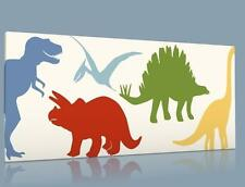 """SINGLE CANVAS PICTURE WALL ART LITTLE COLORFUL  DINOSAUR T REX  8"""" X 16""""  NEW !!"""