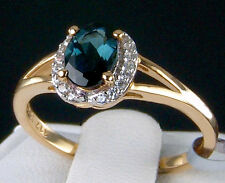 Genuine Indicolite Solitaire with White Zircon 10k Solid Gold Ring Size 7 .079ct