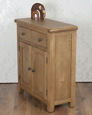 Chunky Solid Oak Dorset Country  Slim 2 Door 1 Drawer Sideboard Cabinet Cupboard