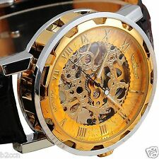 Gold Steampunk Skeleton Mechanical Silver Steel Men's Sport Leather Wrist Watch