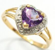 9KT YELLOW GOLD HEART CUT AMETHYST & DIAMOND RING SIZE 7   R1062