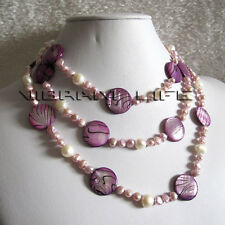 "52"" 5-20mm White Purple Shell Freshwater Pearl Necklace Jewelry U"