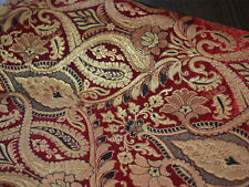 Silk Brocade Fabric Maroon and Gold Floral Pattern