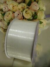 EXTRA LONG ROLL- TOP QUALITY- ORGANZA WIDE WHITE SHEER RIBBON 50mm x 50 METRES