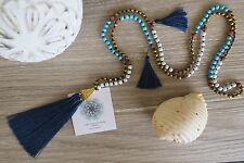 Tassel Necklace  Navy Long Crystal Turquoise Wood  Bronze Cocktail Handmade
