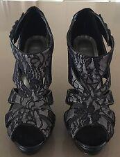 NEW Unworn Black Lace WILDFIRE Platform Open Toe Stiletto Heels Size 8