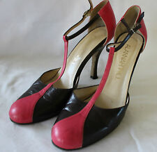 ALANNAH HILL ~ Spring Pink & Chocolate Brown 1940's Style T-Bar Heels ~ 39.5