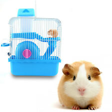 Hamster Mouse Cage Double-deck House with Play Running Wheel Water Bottel Slide
