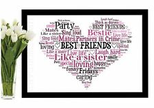 Best Friend Christmas Gift Heart Word Art Print Birthday Thank you Personalised