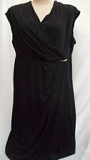 Autograph Strong silky STRETCH Black wrap dress size 24 + gold bar details NEW