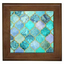 Teal Moroccan Home Decor Framed Ceramic Wall Tile / Entry Table Plaque / Art