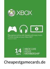 14 Days Microsoft XBOX ONE / 360 LIVE Xbox 14 Days Gold Trial Code via email