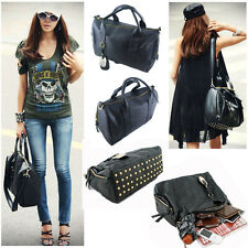 Designer Black Women Shoulder Handbag Bag Satchel PU Rivet Leather Hobo Gift