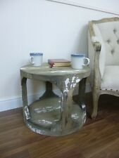 Handmade Lamp/Side Table - Coffee Table - Weathered Oak & White Finish