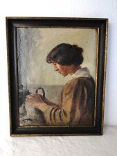 Antikes Gemälde Ölgemälde Mädchen Frau Ölbild + Rahmen Sig. Jorgens