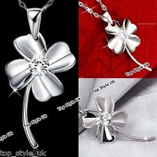 925 Sterling Silver Necklace Irish Shamrock Clover Pendant Lucky Gift for Her