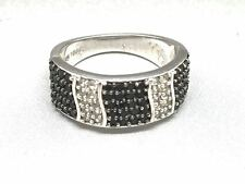 Black & White Topaz Sterling Silver Ring from Gems TV Size K -Retails £44