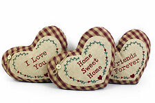 COUNTRY SHABBY CHIC HESSIAN & GINGHAM STYLE HEART SET OF 3 CUSHIONS SCATTER