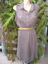 Belted KHAKI Shirt Dress Size 14 CROSSROADS NEW rrp$39.95 Work/Casual