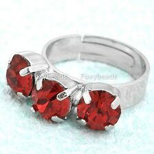 1pc Red Rhinestone Crystal Three Stone Cocktail Finger Ring US7 Adjustable EY