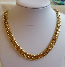 Top Qty 24K GP 316L solid stainless steel men curb necklace heavy 10mm 24 inches