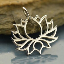 925 Pure Sterling Silver Yoga Jewelry Blooming Lotus Petals Charm Pendant