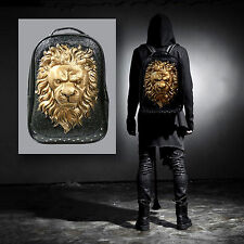 New 1X 3D Fashion Lion Head Backpack Bag Rucksack Spike Shoulder Travel Hiking