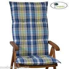 6 Luxus Auflagen für Hochlehner 8 cm dick blau kariert Stuhl Kissen Sitzkissen
