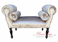 Gorgeous Silver Crushed Velvet Window Seat/Bench with Bolster Cushions