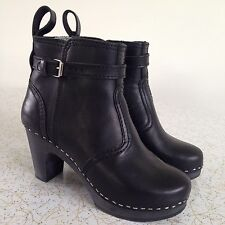 TOFFEL SWEDISH HASBEENS Black Leather Clog Boots Sz 36 worn once AS NEW funkis